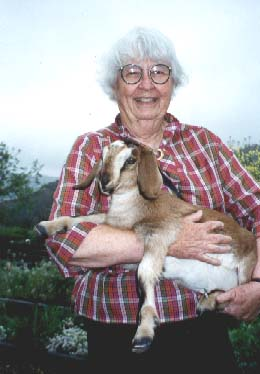 {Lady with baby goat}